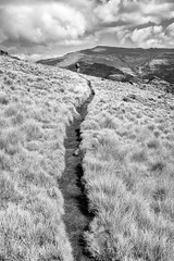 The Line Towards You (departing(YYZ)) Tags: africa travel people blackandwhite mountain field clouds zeiss trek 35mm landscape outside person nationalpark mud path walk sony hike fe ethiopia alpha a7 singleperson simienmountains leadingline semienmountains sonnartfe35mmf28za
