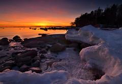Withdrawal (tinamar789) Tags: winter sunset sea snow seascape ice finland helsinki seashore