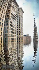 Pittsburgh Abstract Artwork (amycicconi) Tags: urban lake distortion abstract reflection art church water artwork pittsburgh flood officebuilding warped steeple spire reflect tilt tilted oliverbuilding