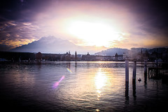 Amazing sunset over Lucerne lake (Louis-Yagera) Tags: sunset lake landscape switzerland luzern lucerne