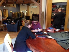 "Adam and Sara Looking at Fabrics for His Wedding Suit • <a style=""font-size:0.8em;"" href=""http://www.flickr.com/photos/109120354@N07/16618053245/"" target=""_blank"">View on Flickr</a>"