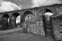 Maesycwmmer Viaduct (johnredney) Tags: south wales bridges stone bridge architecture hengoed southwales viaduct black white landscape arches welsh valleys maesycwmmer