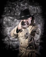 Down the barrel of a gun (christineWood2013) Tags: hat gangster gun barrel
