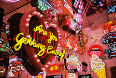 Are You Getting Enough! (chrishopkins77) Tags: contaxt3 kodakportra160 godsownjunkyard neon 35mm walthamstow