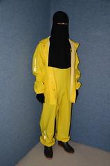 Yellow Rainwear (Buses,Trains and Fetish) Tags: slave niqab hijab burka chador girl backpack torture sweat warm yellow rainwear