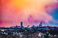 Sunset Rainclouds Over Boston Skyline ((Jessica)) Tags: sky colorful skyscrapers buildings pw boston newengland sunset rainclouds skyline clouds bostonskyline massachusetts vibrant city colors rain prudentialtower johnhancocktower backbay tufts tuftsuniversity tuftslibraryroof sony a6000