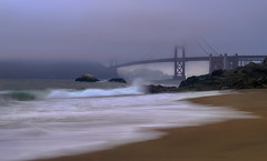 Blue hour ! (Vel's Photography) Tags: sanfrancisco california longexposure bridge blue sea sky mist seascape green water yellow sand waves bluesky goldengatebridge bluehour sony70200f4 sonya7rii velsphotography
