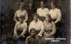 "1910s?: ""Collards workmates"" - staff from Fred Collards (Tailors) of Swindon (Local Studies, Swindon Central Library) Tags: p50351 swindon fredcollard collards tailors workmates women ladies group wiltshire bw postcard anon donation orchard newberry ruthorchard"