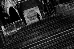 ... illusione... (ines_maria) Tags: photoshop doubleexposure vienna urban city bw silhouette architecture woman stair monochrome contrast light