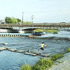 Jumping The Turtle ( aikawake) Tags:       jump jumping turtle stone fly japanese girl kyoto river spring awesome culture life style happy great love travel good weather cool cold water bride nature landscape people street shoot