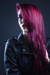 Mysterious (Barry_Madden) Tags: lappeenranta model photoshoot studio tiina female finnish finnishgirl homestudio longhair portraits portraits2016 redhair redhead woman youngwoman leather purple