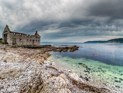 Kelp Hut in Rathlin Harbour (Glen Sumner Photography) Tags: shoreline landscape calm ireland nature water rathlin panorama evening sea beach still kelphut abandoned seaweed color wet cloud colour island northernireland seascape rathlinisland isolated shore landscapes clear