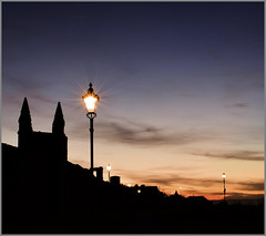 St Andrews lamps (heidiblanksma) Tags: standrews scotland night time long exposure fife abbey coast nikon d5300 blue pink silhouette lamp