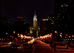 A Night In Philly (raymondclarkeimages) Tags: rci raymondclarkeimages usa 8one8studios skyline city k10d philly buildings street night philadelphia cityhall lights psfs outdoor benfranklinpkwy pentax williampenn architecture history