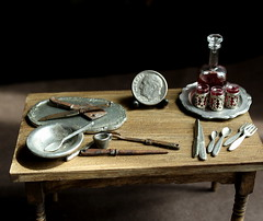 Tudor Prep (fairchildart) Tags: dollhouse miniature scene tudor table distressed vintage 1 12 scale one inch fairchildart wine