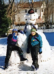 Deniz, Adem & the snowman, Wayne (ali eminov) Tags: winter boys children snowman nebraska seasons brothers wayne siblings deniz adem
