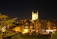 Abbey Hotel, Malvern (Raphooey) Tags: lighting uk trees england sky tree church abbey grass night canon eos star hotel evening long exposure dusk hill great lawn chapel hills gb malvern worcestershire priory floodlit worcester 70d floodlighting starsflood