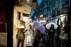 Taipei, 12/2014 (Tomas Forgac) Tags: street city rain shop umbrella shopping evening drops dusk walk taiwan pouring