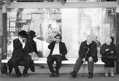 Waiting for the bus (Maron) Tags: white black bus men israel waiting jerusalem marion supermarion nesje