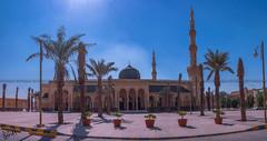 Mosque - I (sidd_photography) Tags: city blue trees red panorama sunshine yellow clouds nikon shadows mosque palm riyadh shinning brightsun nikor nikond5200