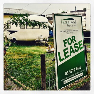 009/365 • holy shit, just got home and this sign was up! Kind of a visual confirmation that we are on our way out... 😳 • #009_2015 #allaboard #forlease #movingout #onwardandupward #eeek #caravan #vintagecaravan