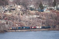 Creeping Along the River (sullivan1985) Tags: railroad bearmountain hudsonriver canadianpacific orangecounty cp csx freighttrain hudsonvalley cefx westshore csxt leaser ac4400cw