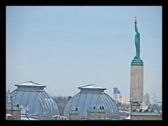 Freedom Monument in winter. Riga, Latvia. January 26, 2015 (Aris Jansons) Tags: city winter snow europe capital baltic latvia roofs rga latvija 2015 freedommonument