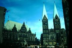 1954- Rathaus-Cathedral- Bremen- Germany (foundslides) Tags: trip vacation holiday vintage germany found deutschland photo europa europe pix european kodak pics 1954 pic tourist tourists retro german 1950s kodachrome slides foundslides oldphotos westerneurope deutsch redborder johnrudd photogtaphs irmalouiserudd