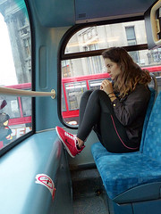 Teen in Fashion (Kombizz) Tags: london girl fashion candid tights teen teenager tight redshoes doubledeckerbus earphones upperdeck iphone feetup teenvogue redbus wc1 busseat legging blueseats blacktights nikeshoes brunettehair busseats kombizz iphoneearphones skintightgarment upperdeckerbus 1080360 teeninfashion puttingherfeetup