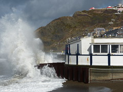 23 February 2015 - Do you think it is safe to continue working? (penny_chicken) Tags: wales high waves tide aberystwyth promenade seafront bandstand ceredigion