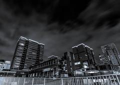 Anderston (GenerationX) Tags: bw white black architecture night dark mono scotland unitedkingdom glasgow scottish neil flats highrise m8 railings barr multistorey anderston