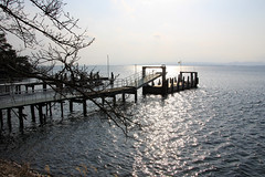 (Yorozuna / ) Tags: bridge lake reflection japan port pier dock jetty lakefront shiga  biwako watersurface  makino  takashima lakebiwa          lakesurface      kaidu  kaiduosaki