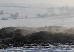 Steaming-dung hills (:Linda:) Tags: mist snow germany landscape village nebel thuringia steam dung poppenwind