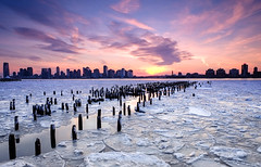 Hudson River Sunset (N. John Soane) Tags: city nyc winter sunset newyork river fuji jersey hudson fujixe1