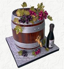 Wine barrel for Thane (Cake Diane Custom Cake Studio (eyedewcakes)) Tags: birthday 3d bottle wine label barrel cobblestone grapes grapeleaves woodgrain spigot sculpted cask fondant
