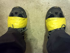 Duct Tape Repairs (phool 4  XC) Tags: ducttape pilgrimage redgreen repairs hikingshoes بيتربروباخر pilgrimagetojerusalem