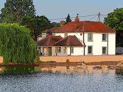 Emsworth Mill Pond House at dawn (fstop186) Tags: old house art water beautiful photoshop reflections photo drawing traditional swans shutters watersedge millpond emsworth