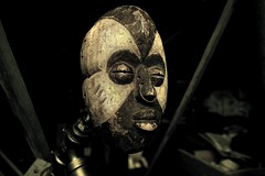 Mysterious Tribal Origins (Jon Scherff) Tags: africa faces mask mysterious hdr darkart africanmask tribalmask woodmask nikond810