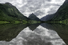 Mountain lake in Norway (nureco) Tags: norway landscape beautiful cloudy clouds nature naturescape hiking visitnorway travel reflections green tree snow summer lake sea sony sonyalpha nopeople discover