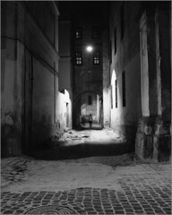 2016-07-31 005-01web2 (Yuriy Sanin) Tags: yuriy sanin mamiya c220 fuji acros lvov lviv street dark  shine  paving pavement  luke hatch   courtyard  silhouette  lamp  lantern 6x6  medium format
