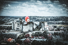 Flying (salas-3) Tags: homemade airlpane box girl creative snow photoshop efect landscape kaunas city buildings art interesting nikon photography fineart
