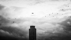 UFO (BlisterBeetle) Tags: sky blackandwhite bw building tower monochrome birds architecture clouds canon germany landscape photography photo foto space alien eerie ufo conspiracy sw schwarzweiss landschaft schleswig 40d canon40d
