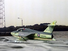 1:72 Folland Fo-150, a.k.a. 'Project Volans'; 'WS685/101' of the Royal Navy No. 7001 Flight, during weapon trials in the Solent/Isle of Wight (UK) region, summer 1956 (Whif/Matchbox Gnat T.1 conversion) (dizzyfugu) Tags: 172 whif whatif folland gnat conversion flying boat floatplane hydroski saro prototype test fictional aviation aircraft rn royal navy dizzyfugu modellbau sea grey solent weird matchbox science fiction