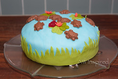 Turtle Pond Cake (AW Inspired Cakes) Tags: cake pond lily turtle chocolate pad frog lilypad fondant