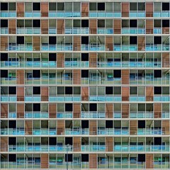 Blocking the View (Paul Brouns) Tags: blue windows urban brown abstract building art architecture facade square concrete doors pattern play view geometry screen photographic balconies housing layers blocks residential screens rhythm edit destijl appartments mixedup paulbrouns straightfacade paulbrounscom