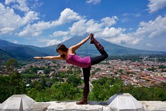 Yoga In Front Of A Volcano ((Jessica)) Tags: guatemala yoga volcano antiguaguatemala guate sunny view antigua clouds dancerspose volcn agua rooftops elcerrodelacruz boots