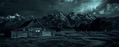Light Show at the Barn (Jeff Clow) Tags: summer blackandwhite usa barn rural landscape outside outdoors scenery wyoming iconic mothernature jacksonhole scenics 2016 roadlesstraveled offthebeatenpath offthebeatentrack moultonbarn tamoultonbarn