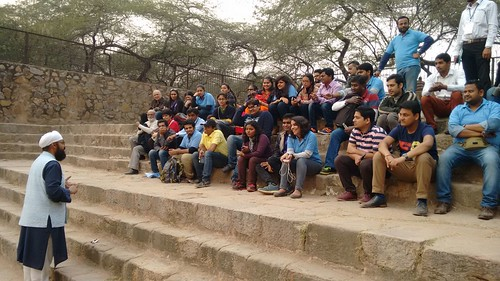 Accessible Tour of Qutub Minar: History session in progress by our history expert.