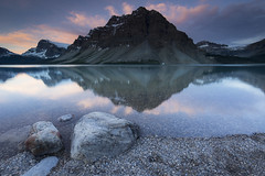 Bow Lake Sunrise (andrewpmorse) Tags: bowlake banff alberta canada mountains clouds lake sunrise landscape banffnationalpark nationalpark glacier sky rocks crowfootmountaincrowfoot canon 6d 1635f4l leefilters lee09ndgradhard