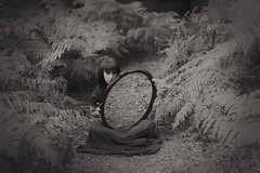 Bethany (Capt'n Red Beard) Tags: black white mirror creepy scary forest reflection sitting bethanydelamereforestmirrorlocation sheer skirt ferns trail path mono monochrome